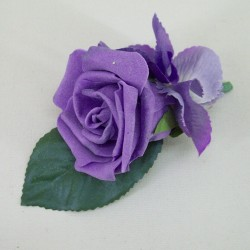 Foam Rose and Hydrangea Boutonniere Purple - BH002