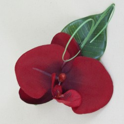 Red Silk Orchid Boutonniere - BD041