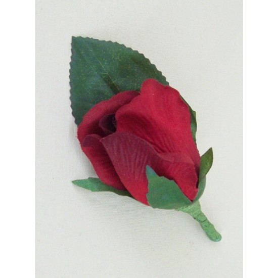 Red Silk Rose Bud Buttonhole Boutonniere - BR009b