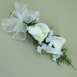 Silk Double Rose Bud Boutonniere Buttonhole Ivory - BR010a