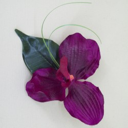 Magenta Silk Orchid Boutonniere Buttonhole - OBH002