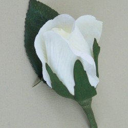 Ivory Silk Rose Bud Boutonniere Buttonhole - BR009c