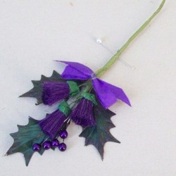 Purple Thistle Boutonniere or Corsage Large Leaves - T085 R3