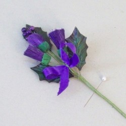 Purple Thistle Boutonniere or Corsage Small Leaves - T084 HH2