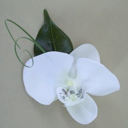 White Silk Orchid Boutonniere - OBH011