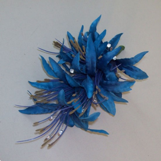 Artificial Flower Corsage Blue Nerine Lilies and Diamante - COR008