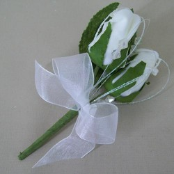 Colourfast Foam Roses Boutonniere or Corsage White - R357 S2