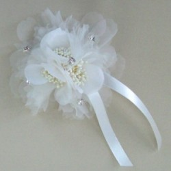 Corsage or Hair Clip Ivory Gossamer Flower and Diamante - ABC013B LL3