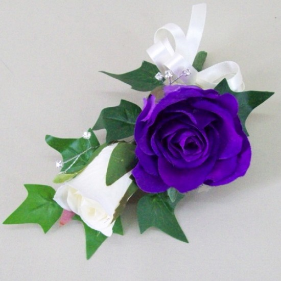 Purple and Cream Rose Corsage - ADEC07c