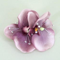 Vintage Wedding Corsage Aubergine Orchid and Diamante - COR004