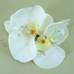 Vintage Wedding Corsage Cream Orchid and Diamante - COR006