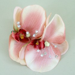 Vintage Peach Orchid and Diamante Corsage - COR005