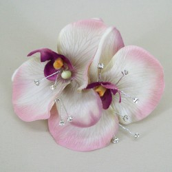 Vintage Wedding Corsage Purple Orchid and Diamante - COR003