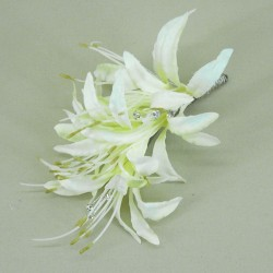 Cream Nerine Lilies and Diamante Corsage - COR009
