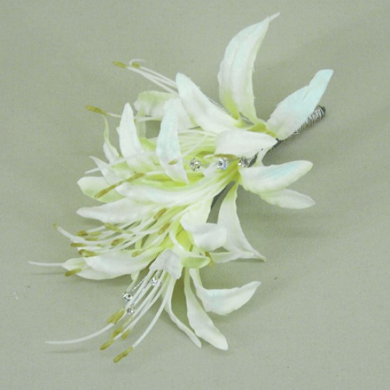 Cream Nerine Lilies and Diamante Corsage - COR009