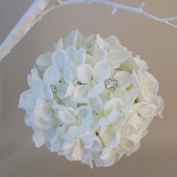 Artificial Hydrangeas Pomander Ivory with Crystals and Pearls - H091 E4