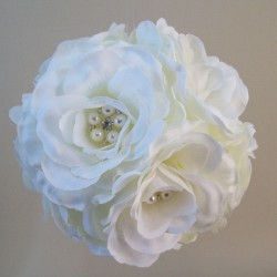 Artificial Roses Pomander Ivory with Crystals and Pearls - R556 GG1