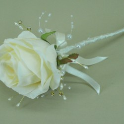 Cream Silk Rose and Sparkle Flower Fairy Wand - ABB001a
