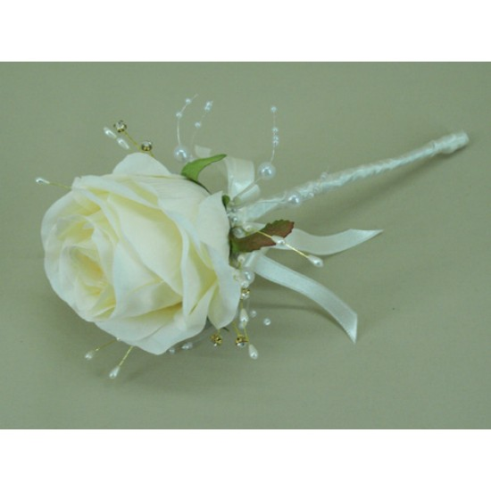 Cream Silk Rose and Sparkle Flower Fairy Wand - ABB001a