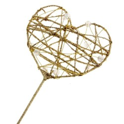 Glitter Heart Fairy Wand Gold - WAN009