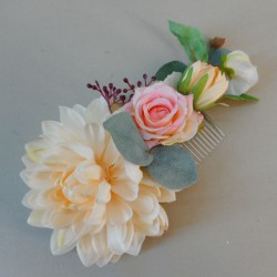 Bowness Faux Flowers Hair Slide Pink Peach - BOW004