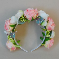 Bowness Faux Flowers Head Band Pink Roses - BOW005