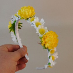Buttermere Faux Flowers Head Band White Yellow - BUT005