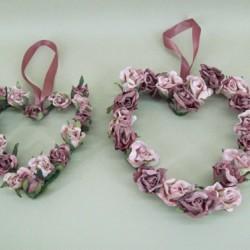 Vintage Rose Hearts x 2 Dusky Pink - R125 KK1