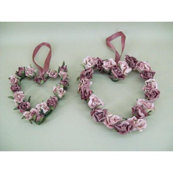 Vintage Rose Hearts x 2 Dusky Pink - R125 BX18