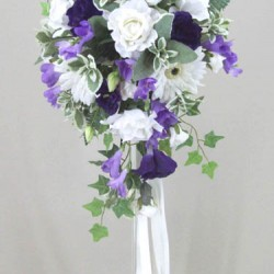 Silk Rose and Gerbera Wedding Bouquet Lavender - BD047