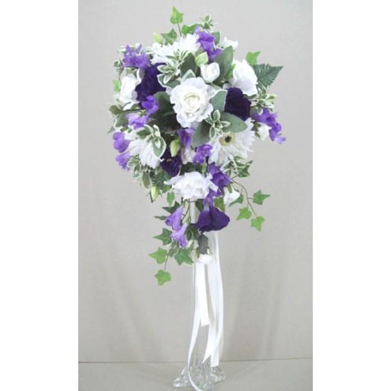 Silk Rose and Gerbera Wedding Bouquet Lavender - BD047