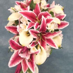 Silk Flower Wedding Shower Bouquet Stargazer, Calla and Freesia - BD021