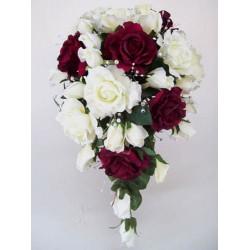 Silk Rose Wedding Bouquet Burgundy - BD028