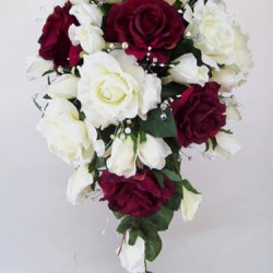Silk Rose Wedding Bouquet Burgundy - BD028