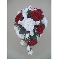 Silk Rose Wedding Bouquet Red - BD028a