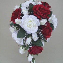 Silk Rose Wedding Bouquet Red - BD028a