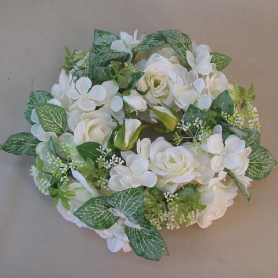 Evie Cottage Garden Wreath Mauve Cream 27cm - EVI004 D4