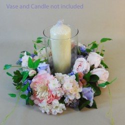 Longlands Faux Flowers Candle Ring Pink Lavender - LON024