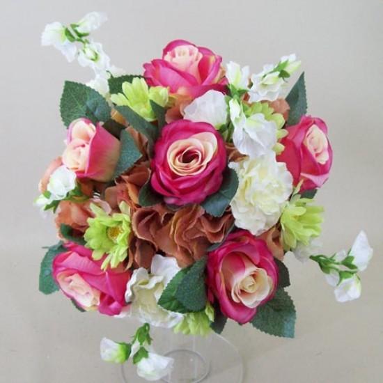 A Summer Garden Artificial Wedding Bouquet Pink Peach - ASB003