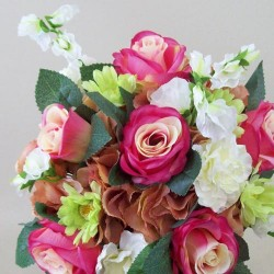A Summer Garden Artificial Wedding Bouquet Pink Peach - ASB003