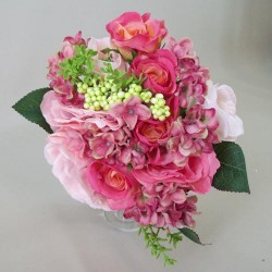 Artificial Flowers Bouquet Roses and Hydrangeas Pink XL - R469 BX13