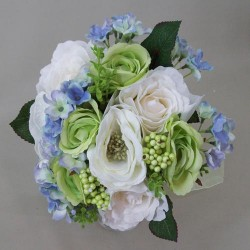 Artificial Flowers Bouquet Roses and Hydrangeas Blue Green XL - R470 BX2