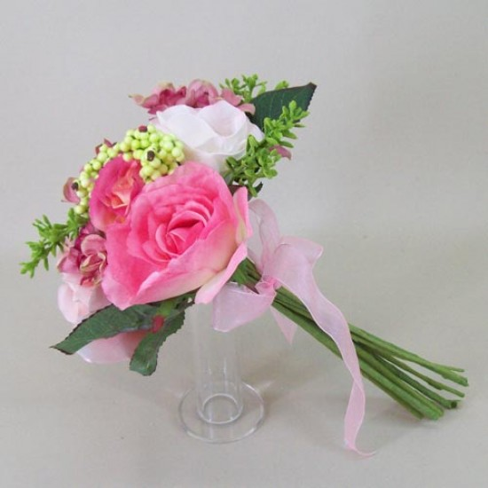 Artificial Flowers Bouquet Roses and Hydrangeas Pink - R467 BX13