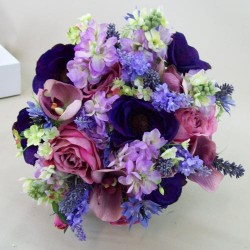 Artificial Flowers Wedding Bouquet Pink Purple - ABB004