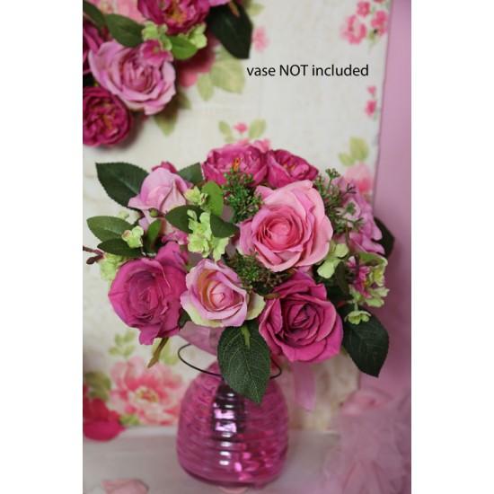 Chloe Artificial Roses Wedding Bouquet Pink - R606 O3