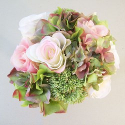Ella Artificial Roses and Hydrangeas Posy Pink Peach Green - R844 O1