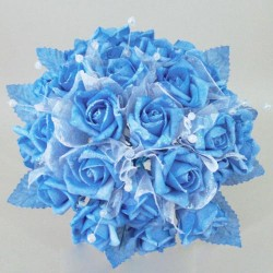 Foam Roses with Tulle Posy Blue Large - R284 BX13