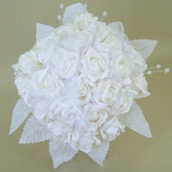 Foam Roses with Tulle Posy White Large - R285 BX19