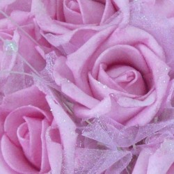 Foam Roses with Tulle Posy Pink Large - R283 BX16