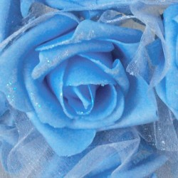 Foam Roses with Tulle Posy Blue Small - R280 BX10